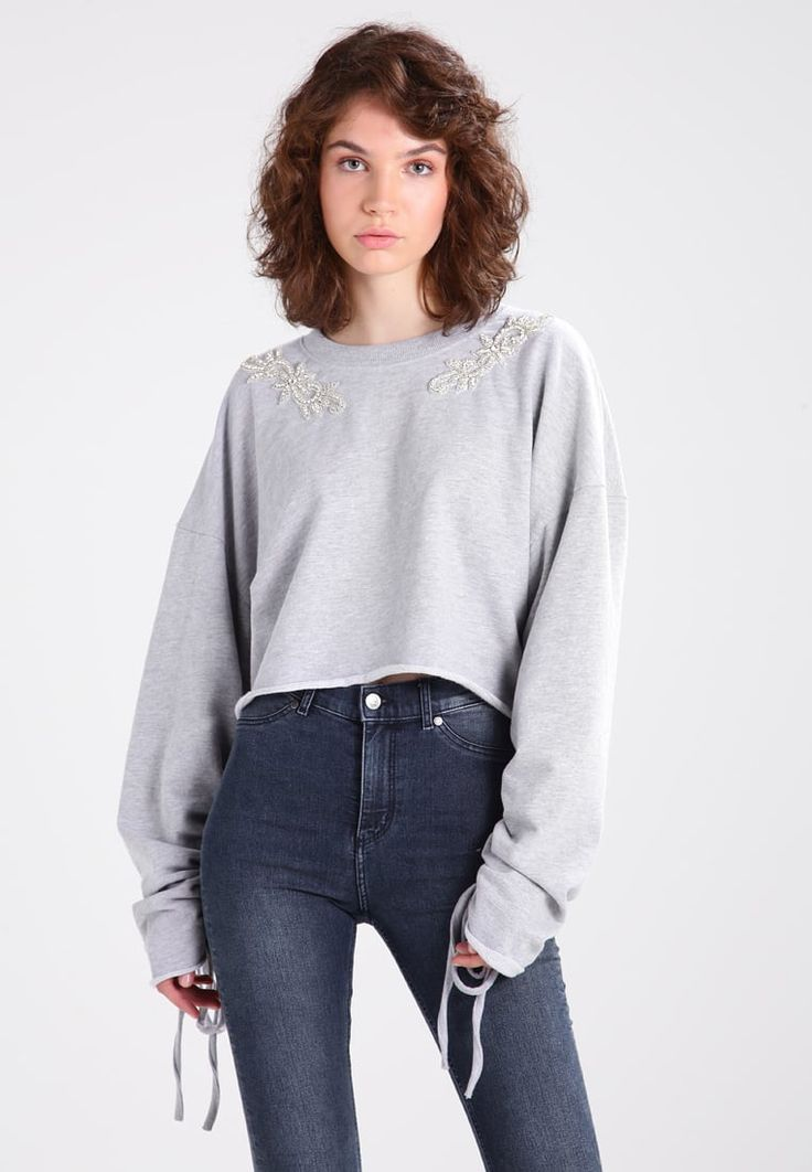 Missguided ROUCHED SLEEVE EMBELLISHED  - Sweatshirt - grey  for £30.99 (02/08/17) with free delivery at Zalando