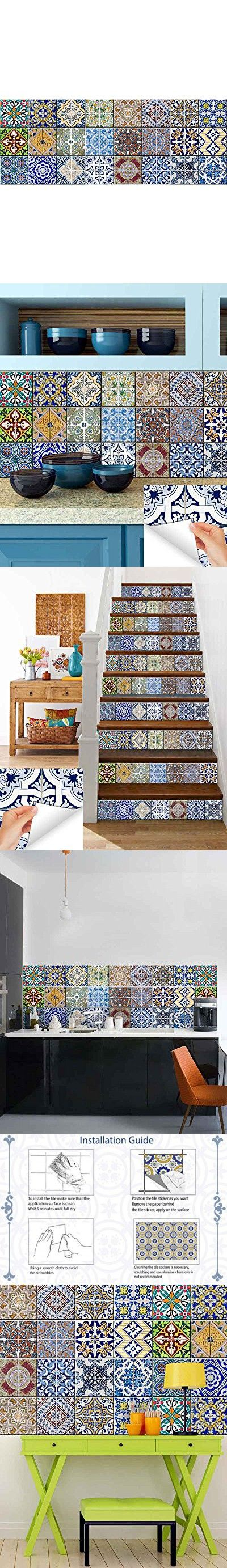 Tile Stickers 24 PC Set Authentic Traditional Talavera Tiles Stickers Bathroom & Kitchen Tile Decals Easy to Apply Just Peel & Stick Home Decor 6x6 Inch (Kitchen Tile Stickers HA1)