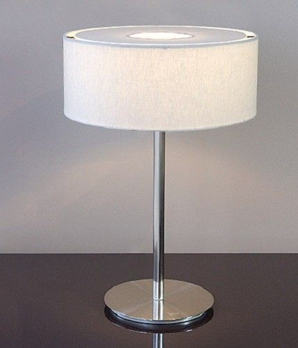 Viore Design Ola Table Lamp in Satin Chrome w White or Grey Shade 53cm