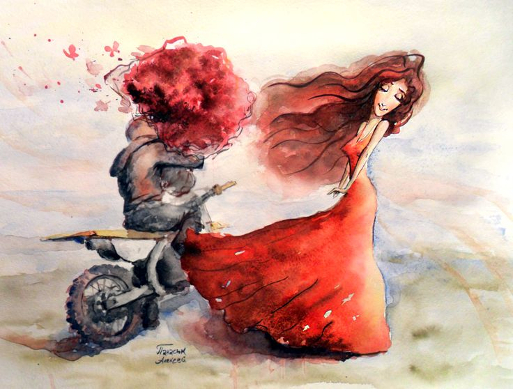 #watercolor, #girl, #rose, #moto, #love #motorcycle, #enduro, #sport, #red_dress_long_hair, #handpainting