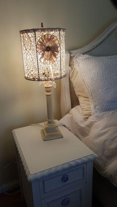 Antique Restored Table Lamp w/ Crochet & Lace Lamp Shade * Cottage from fifis-antique-perfume-bottles-compacts on Ruby Lane