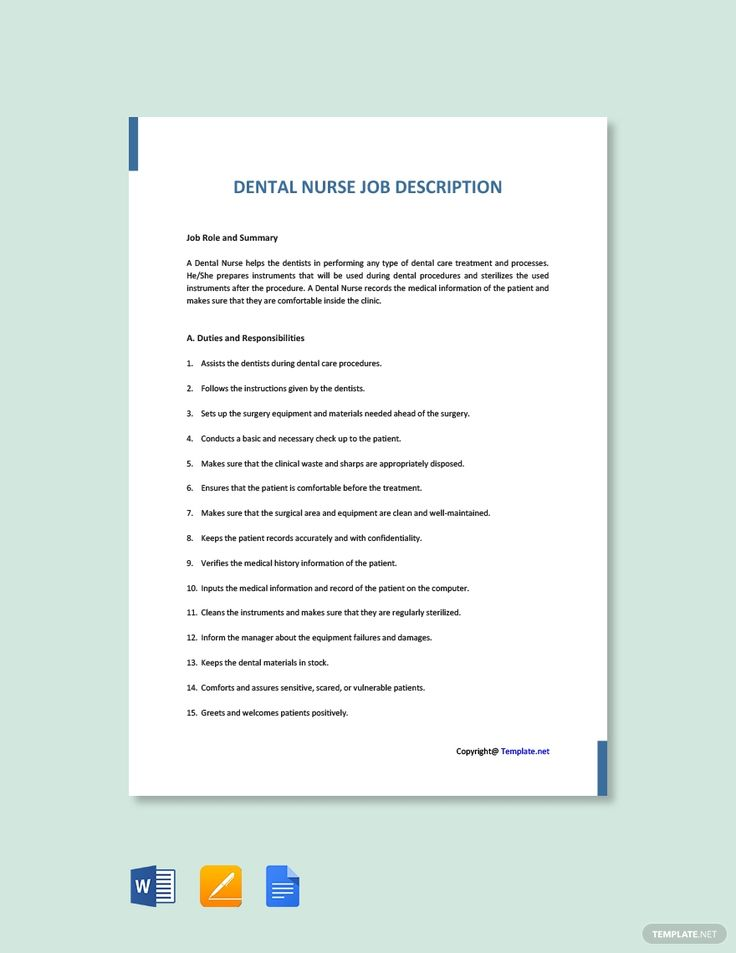 Free dental nurse job description template ad ad