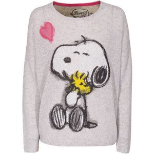PRINCESS GOES HOLLYWOOD Snoopy light Grey Cashmere sweater with print