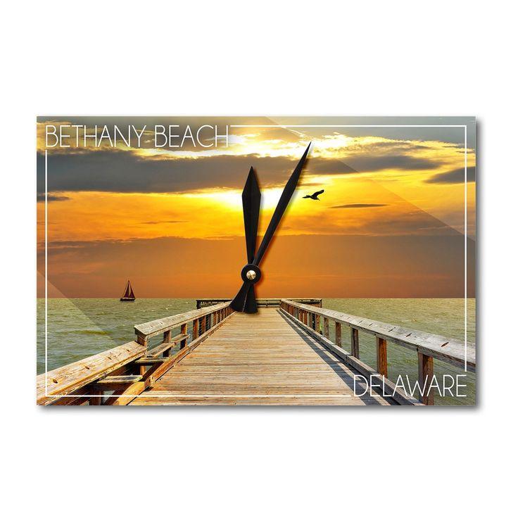 Bethany Beach DE - Dock at Sunset - LP Photography (Acrylic Wall Clock), Black (Plastic)
