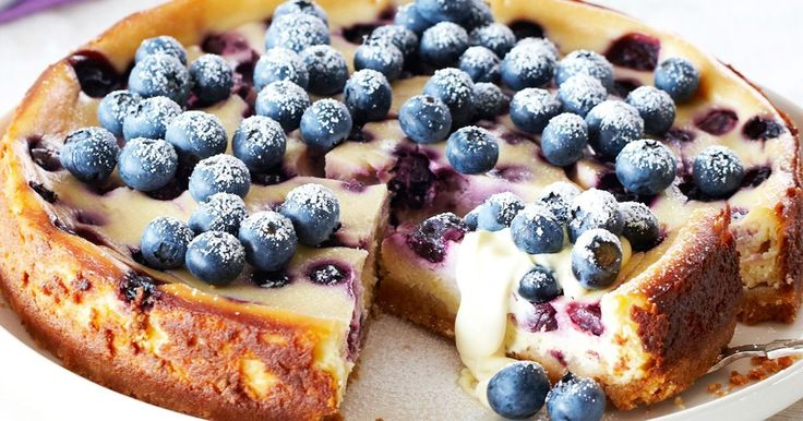 blueberry and lemon baked cheesecake.