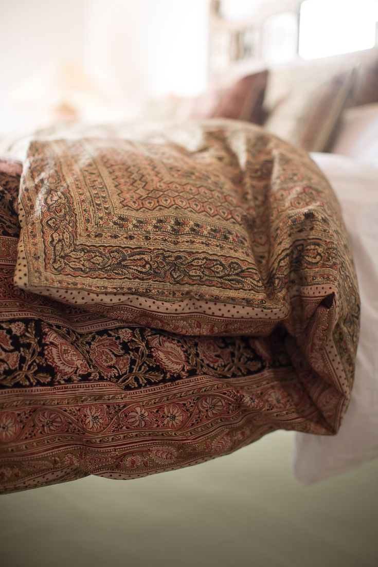 kalamkari blockprinted bedding - organic cotton