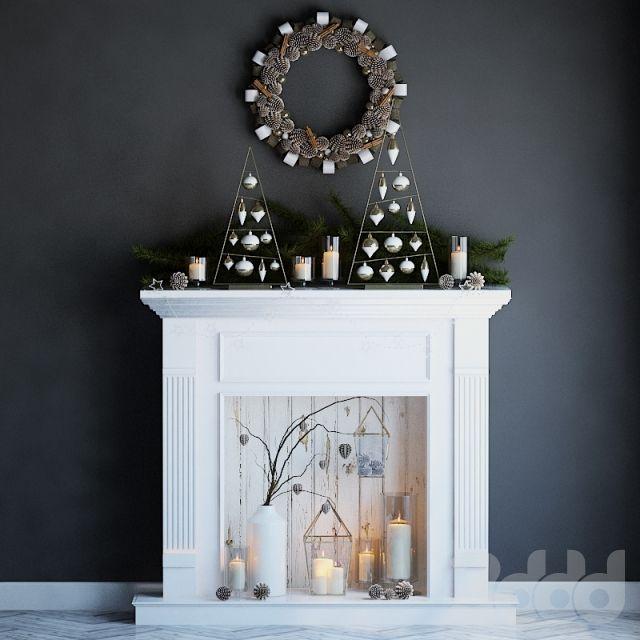 Искусственный камин со свечами и рождественским декором