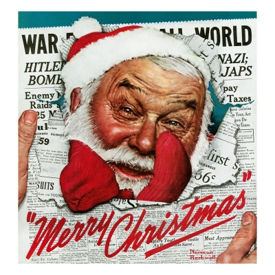 """""""Santa's in the News"""", December 26, 1942 by Norman Rockwell"""