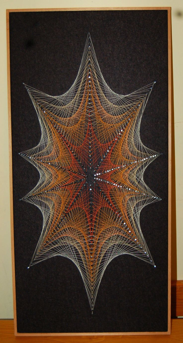 STRIKING VINTAGE RETRO 1960'S/70'S ORANGE & YELLOW STRING ART ABSTRACT PICTURE | eBay