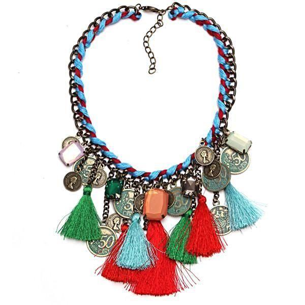 NEW Bohemian Tassel Fringe Necklace Coins Multicolor