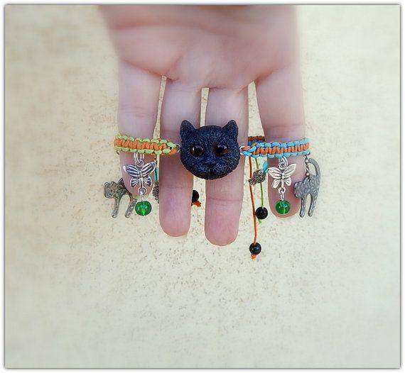 Bracelet shamballa with cat head Braided bracelet by ViaLatteaArt