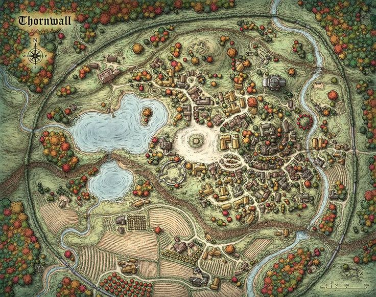 "Thrown village map for Marc Tassin's new Pathfinder compatible RPG ""World of Aetaltis,"" by Mike Schley"