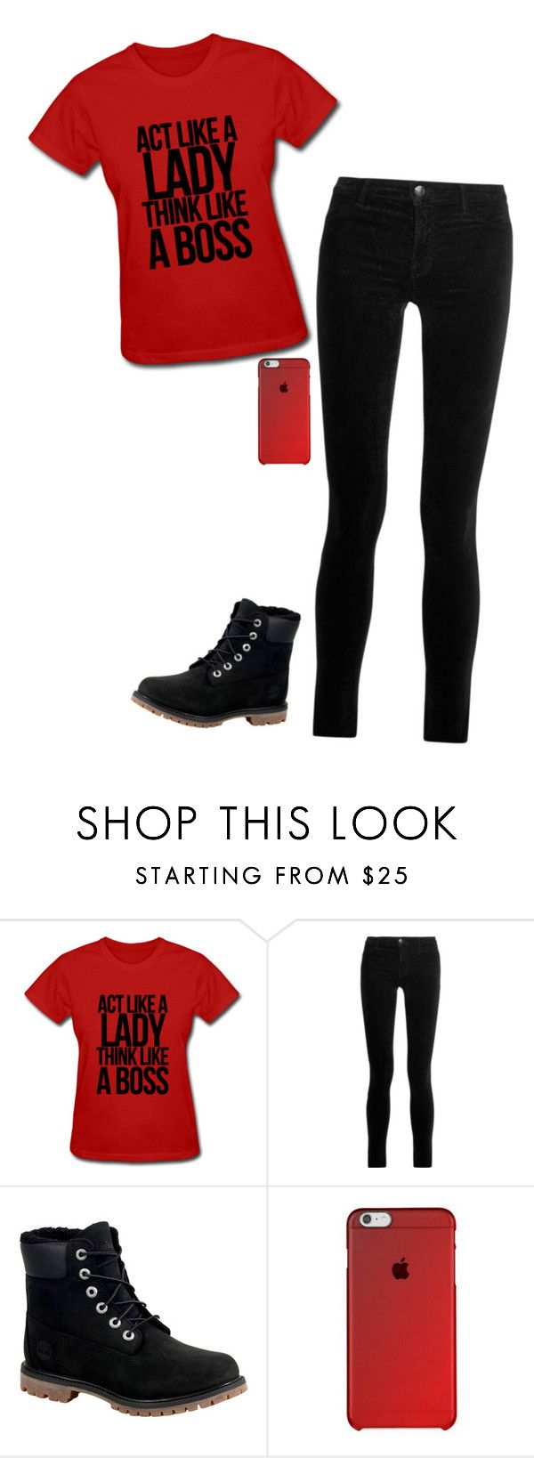 """""""I don't know about the act like a lady part, but i am a boss"""" by kswulffy ❤ liked on Polyvore featuring J Brand and Timberland"""