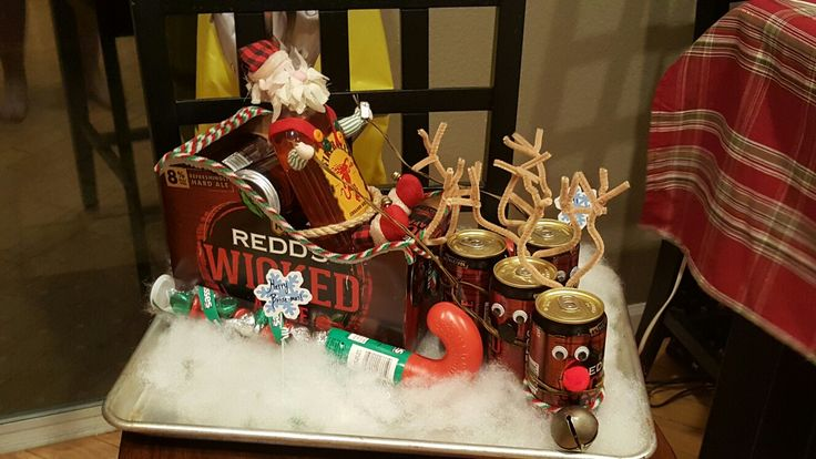 Merry Boose-mas!  So fun to make. Santa (Fireball) drinking a beer, while commanding his reindeer from his sleigh  (Redd's Apple Ale). BC