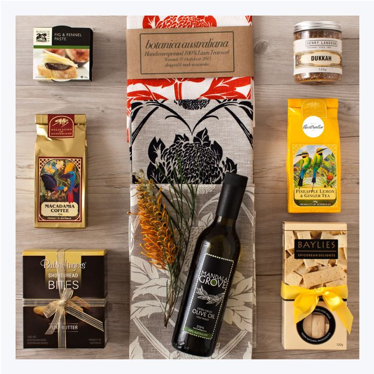 Afternoon Tea Deluxe gift hamper. This gourmet afternoon tea Australian gift comes with specialty tea, coffee, nibbles and a designer tea-towel hand screen-printed in Australia. Great to share with friends or just to say Thank-you. All products are made in Australia