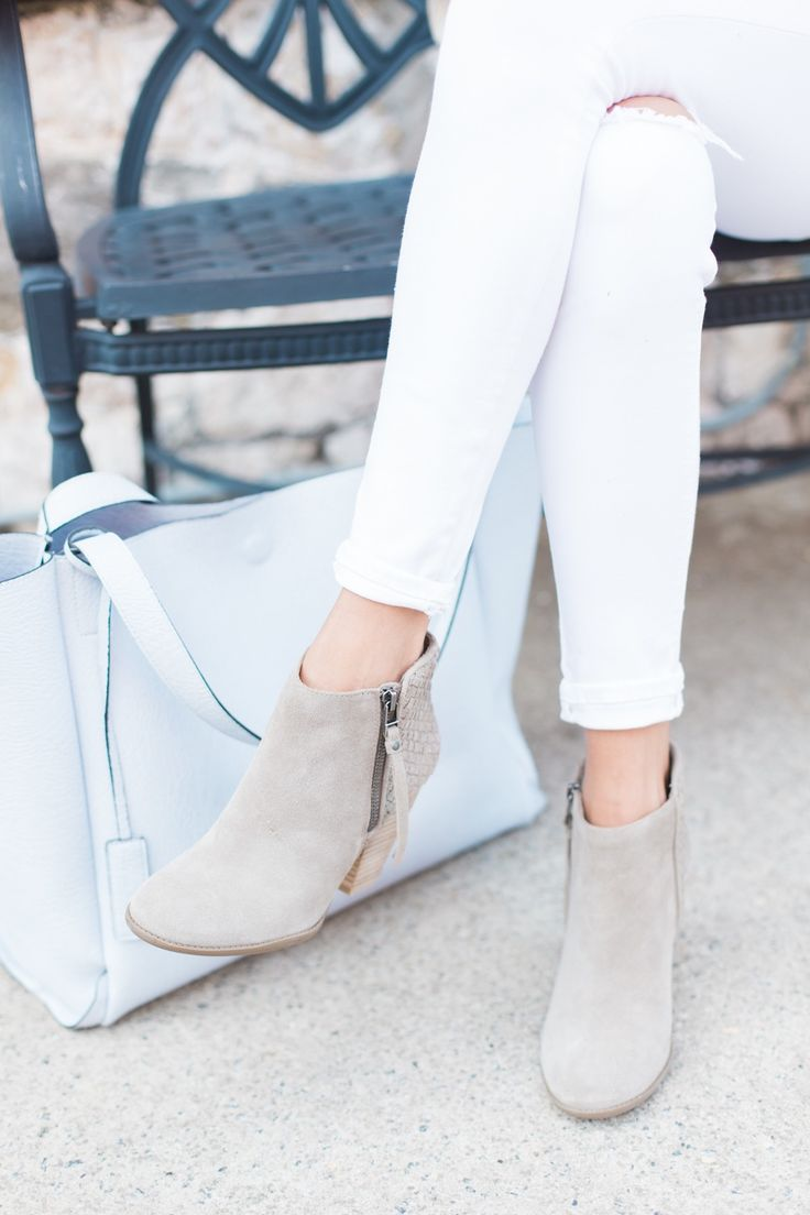 Suede ankle booties with woven detail along the back | Sole Society Zada. Love the clean lines.