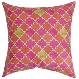 Refresh your home for summer with this essential design, artfully crafted for lasting appeal.  Product: PillowConstruction Material: Cotton cover and 95/5 down fillColor: Pink and orangeFeatures:  Insert includedHidden zipper closureMade in the USA Dimensions: 18 x 18Cleaning and Care: Spot clean