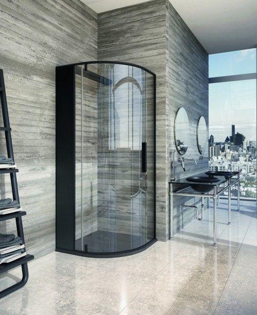 : Masculine Bathroom, Bathroom Design, Luxury Bathroom, Modern Bathroom, Glasses Wall, Black Shower, Corner Shower, Bathroom Ideas, Bathroom Decor
