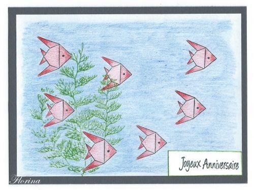 Voici une carte d'anniversaire avec des petits poissons Les tampons utilisé sont tampon petits poissons 3082 tampon joyeux anniversaire 1333 tampon bouquet de corail 2445 A bientôt Florina