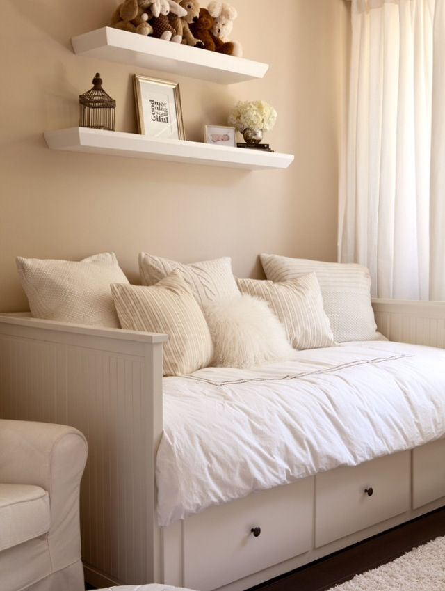 Turn crib into daybed, then into small love seat when Tuck is in a twin bed. love this!