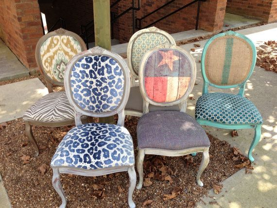 Throne Dining Chairs Texas Decor French Painted Chalk Paint Eclectic Bohemian Flag Animal Print Set Accent Chair Vintage Louis XVI Armchairs