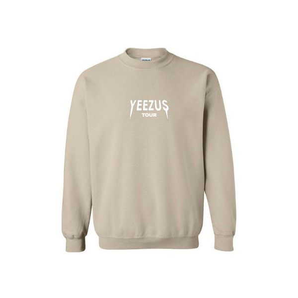 Yeezus Crewneck Sweatshirt Kanye Yeezus Sweater Yeezus Sweatshirt... ❤ liked on Polyvore featuring tops, hoodies, sweatshirts, crew neck top, vinyl top, heavy sweatshirt, logo sweatshirts and pink top