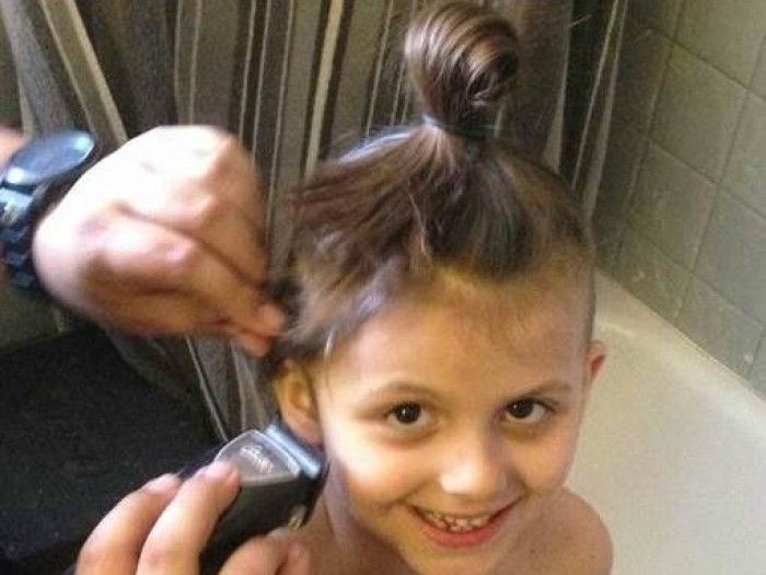 These parents let their 6-year-old shave her head, because girls are not their hair