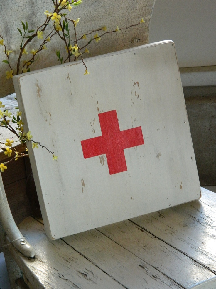 Red Cross sign swiss army vintage style