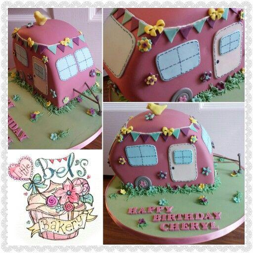 Fun caravan cake in dusky pink with bunting x