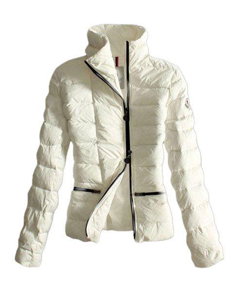 Moncler dunjakker Kvinner Svart Zip Pure Color Hvit