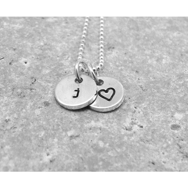 Tiny Letter j Necklace, Sterling Silver Initial Necklace, Heart... (€34) ❤ liked on Polyvore featuring jewelry, necklaces, letter charm necklace, charm necklace, sterling silver necklaces, heart shaped necklace and heart charm necklace