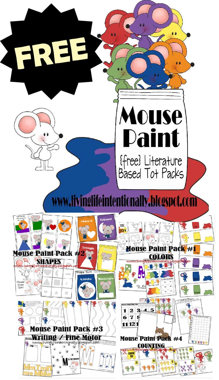 FREE Mouse Paint Worksheets for Kids - These are SO CUTE! So many fun, playful, hands on activities for toddler and preschool age kids to practice writing, colors, shapes, color mixing, and more!