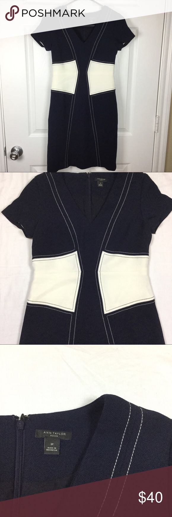"""Ann Taylor Color Block Dress Size 0 petite Curve accenting color block. With stitching detail. Polyester, Spandex, Rayon. Has some stretch. Lined. Navy Blue and White. When laid flat, bust measures 16 inches across armpit to armpit. Waist is 13.5 inches across. 35 inches long. Feel free to ask any questions! No trades. Offers welcome through """"offer"""" button. 15% discount on bundles. (A) Ann Taylor Dresses"""