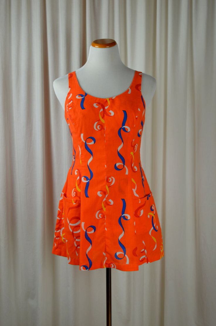 Vintage Romper, Vintage Bathing Suit, 60's Fashions, Orange Romper, Cotton Swimsuit, Play Suit, Novelty Print, Size Large, 40 C by BuffaloGalVintage on Etsy