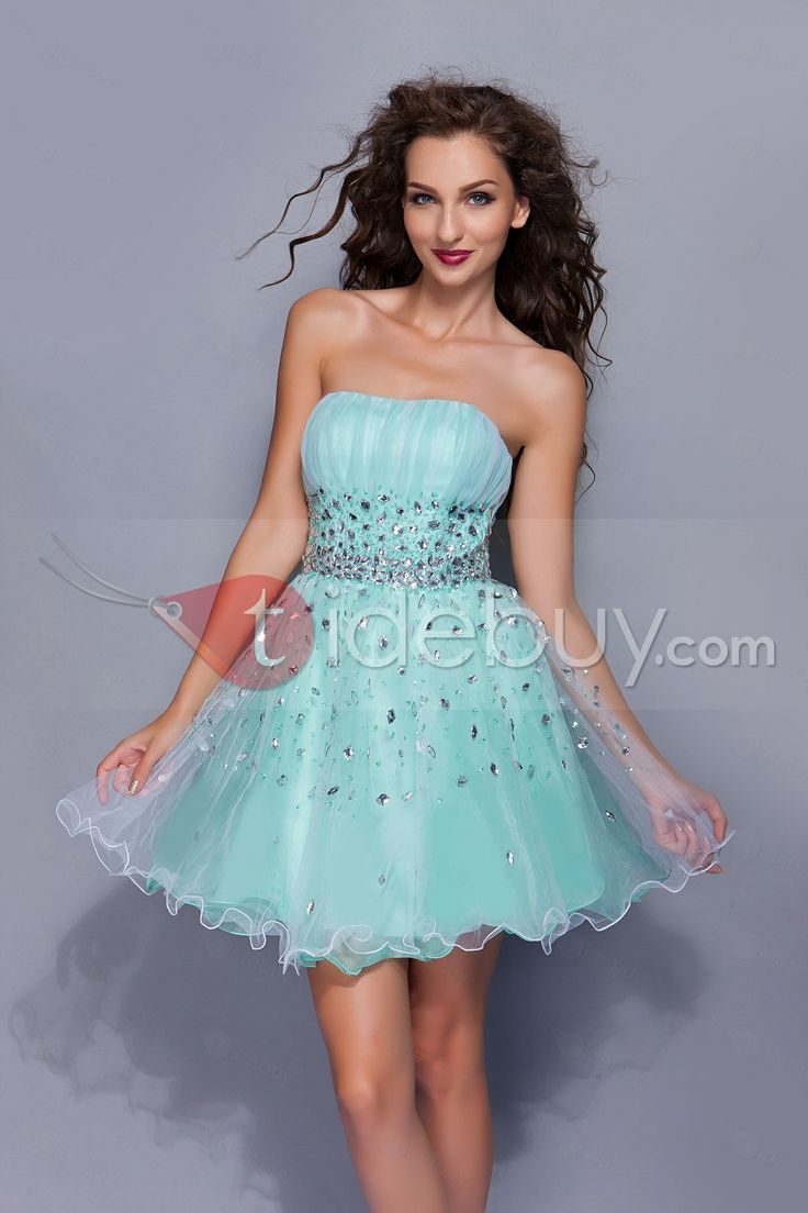 Fabulous A-Line Strapless Mini/Short-Length Beadings Miriama's Prom Dress : Tidebuy.com