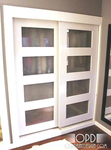 DIY closet doors. Build frame w/holes, attach pieces of glass & hang. Again, IF we buy this house, for our downstairs.