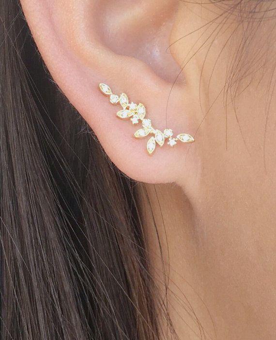 Dainty vine ear climbers ear crawlers earrings ear by ByKeira