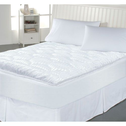 White Luxury Stripe Queen Mattress Enhancer - (In No Image Available)