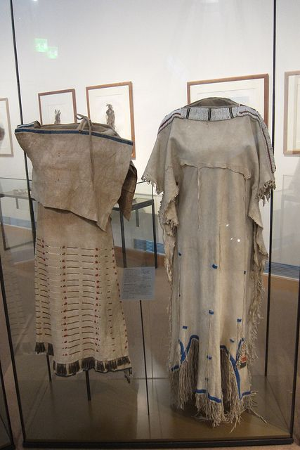 Left: Side-Fold Dress - Lakota (1830) Right: Woman's Dress (1840)
