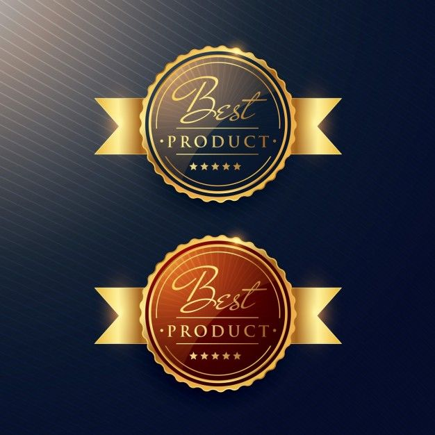 лучший роскошный продукт золотой этикеткой набор из двух значков Бесплатные векторы