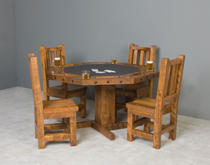 Barnwood Octagon Poker Table with Reversible Top #pokertable