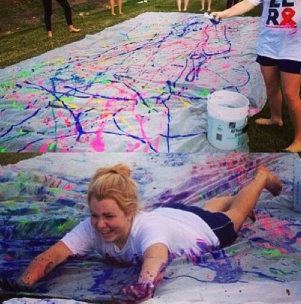 Paint slip and slide! Use an old sheet and non-toxic paints.