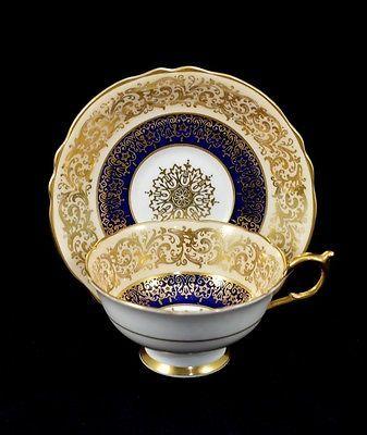 Vtg. Paragon H.m. Queen Mary Heavy Gold/ Cream/ Cobalt Blue Tea Cup Saucer Mint