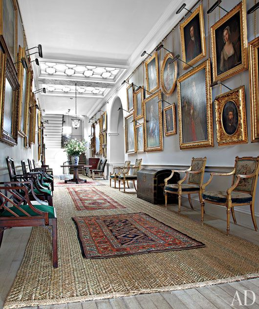 Dumfries House. love the light grey walls with sisal rug overlaid with small oriental rugs....emerald green color pops on chairs