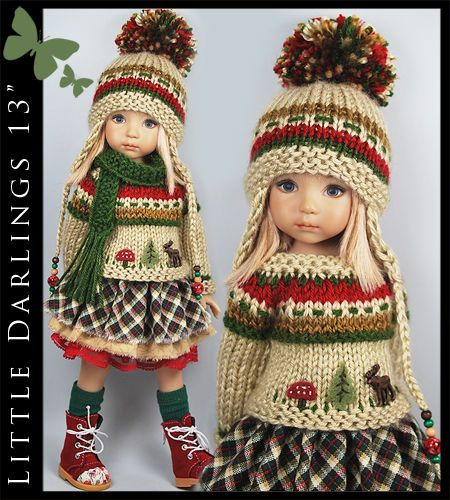 """Red, Green & Beige Outfit for Little Darlings Effner 13"""" by Maggie & Kate Create"""