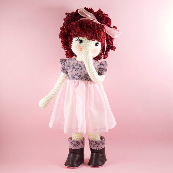 Amigurumi crochet doll - Pretty girl doll in a gorgeous mauve and pink dress with matching boots