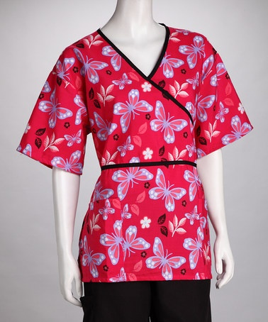 Take a look at this Red Butterfly Scrub Top - Women & Plus by Women's Scrubs Collection on #zulily today!