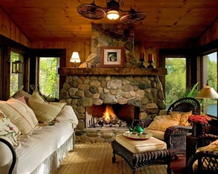 Indoor Hearth Room With An Outdoor Feel Love That Stone
