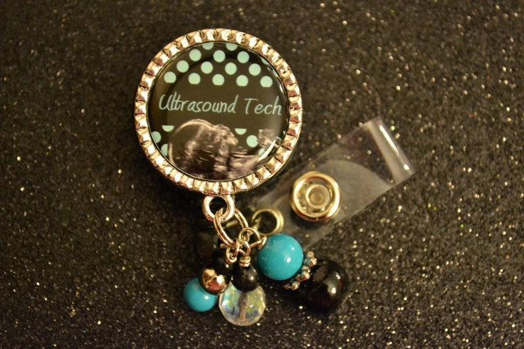 Ultrasound Tech Teal and Black Bezel Retractable ID Badge Holder, ID Holder Reel, ID Clip, Medical, Nursing, Rx. $12.00, via Etsy.