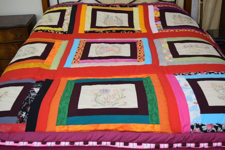 Brighten up your life with this is a fully colourful, crazy , embroidered ,hand made  queen bed quilt  It is a one of and is never to be reported $450